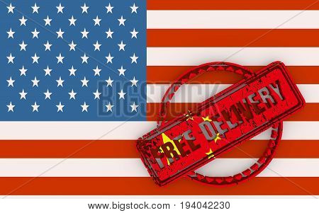 Distressed stamp icon. Graphic design elements. 3D rendering. Free delivery text. Flags of the USA and China