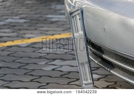 Close-up of empty license plate on the car