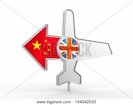 Emblem design for airlines, airplane tickets, travel agencies. Airplane icon and destination arrow. Flags of the Great Britain and China. 3D rendering