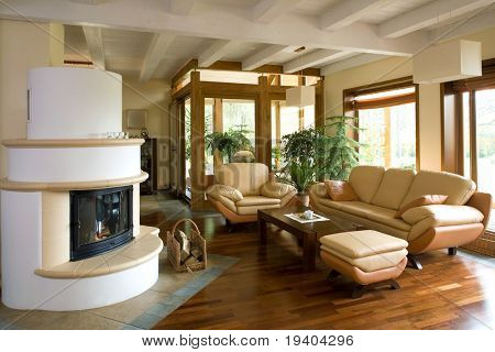 Close up details of stylish modern living room with fireplace.
