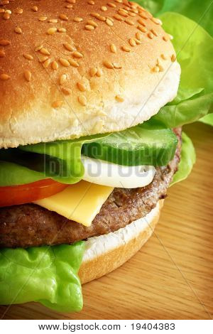 Typical fast food, a burger served with cheese and salad.
