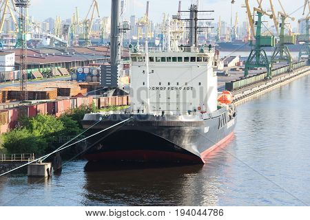 St. Petersburg, Russia - June 25 2017: The cargo port. Russian diesel-electric icebreaker