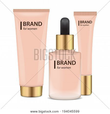 Set of Realistic Containers with gold caps for Foundation or bb and cc cream. Mock-up of mat glass tube template of packaging for cosmetic product for your design
