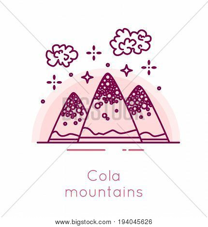 Cola mountains and popcorn clouds in thin line flat design. Fast food banner.