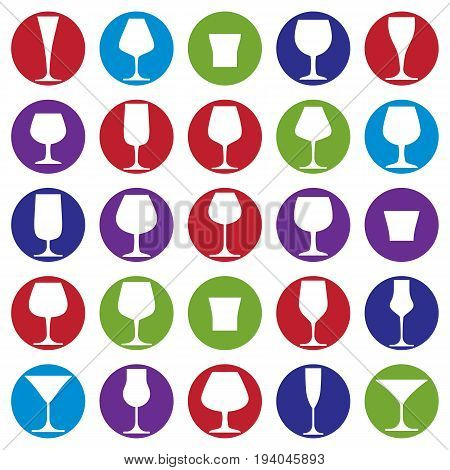 Drinking glasses collection martini wineglass cognac whiskey and champagne. Alcohol theme simple vector illustrations lifestyle design elements. Different goblets.