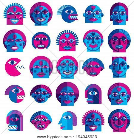 Mythic creatures collection vector modern art. Set of fantastic odd characters expressing different emotions.