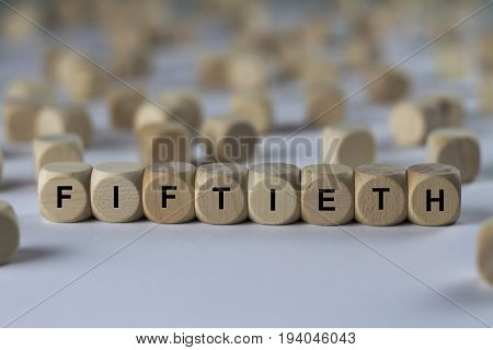 Fiftieth - Cube With Letters, Sign With Wooden Cubes