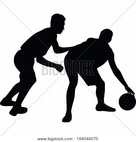 two man play basketball game silhouette vector