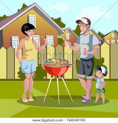 Cartoon happy family Barbecue. Vector illustration man, mom, sun