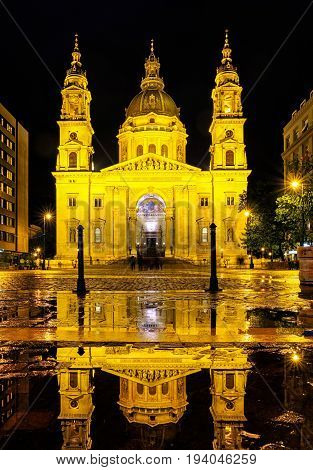 BUDAPEST HUNGARY - MAY 5: St. Stephen's Basilica at night on May 5 2017