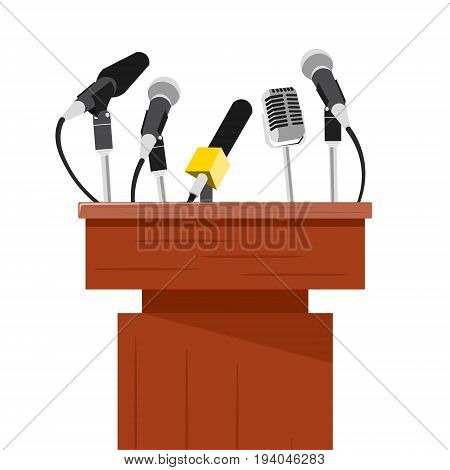 Tribune with microphones prepared for conference meeting set on white background realistic vector illustration