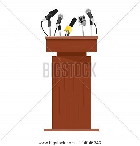 Wooden podium tribune with microphones. Vector illustration