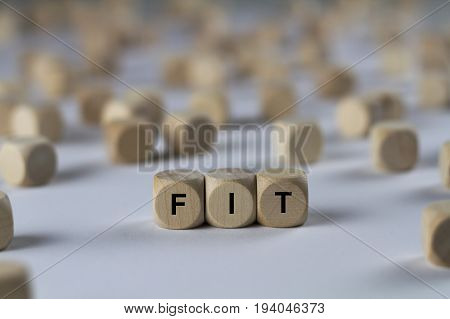 Fit - Cube With Letters, Sign With Wooden Cubes