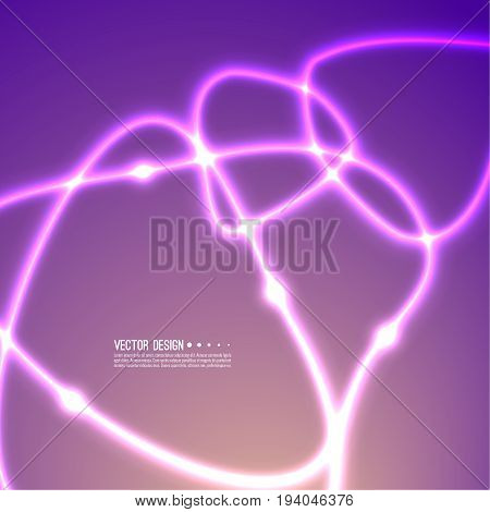 Abstract background with modern color gradient. The concept of neural networks, design future. Dynamic movement of luminous energy. Path intersecting flashes. Techno vector illustration, bright waves.