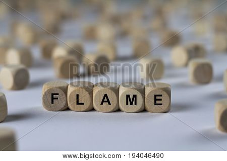 Flame - Cube With Letters, Sign With Wooden Cubes