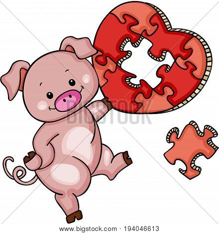 Scalable vectorial image representing a cute pig with heart shaped puzzle, isolated on white.