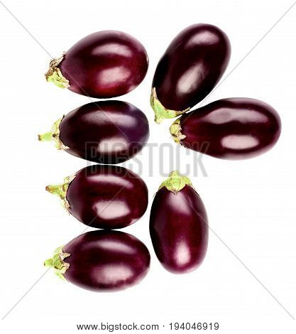Arrangement of Raw Small Eggplants isolated on White background. Top View