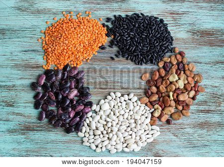 Yellow Lentils, White, Purple, Brown Kidney Haricot Beans Batches Scattered