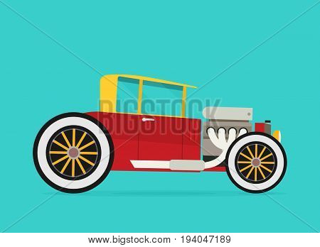 Vector Hotrod. Flat vector illustration isolated on color background