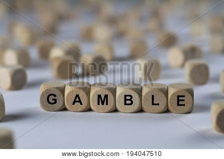Gamble - Cube With Letters, Sign With Wooden Cubes