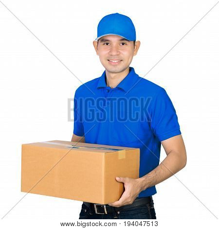 Asian deliveryman carrying a cardboard parcel box isolated on white background