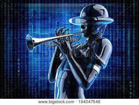 3D illustration. Stylish cyborg woman with the trumpet. Futuristic fashion android.