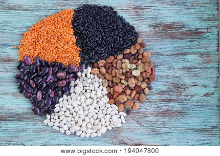 Circle Of Yellow Lentils, White, Purple, Brown Haricot Beans Scattered