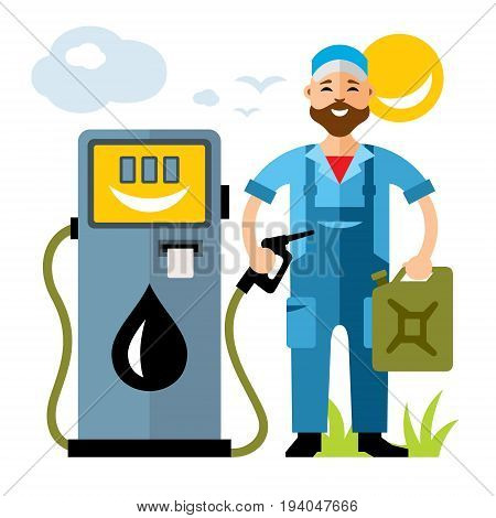 Man with fuel hose and canister of gasoline. Isolated on a White Background