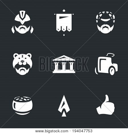 Gladiator, standard, autocrat, viking, acropolis, chariot, gold pot, spear, pardon.