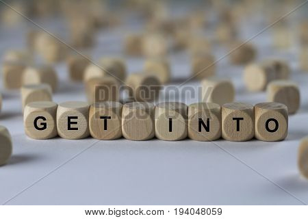 Get Into - Cube With Letters, Sign With Wooden Cubes