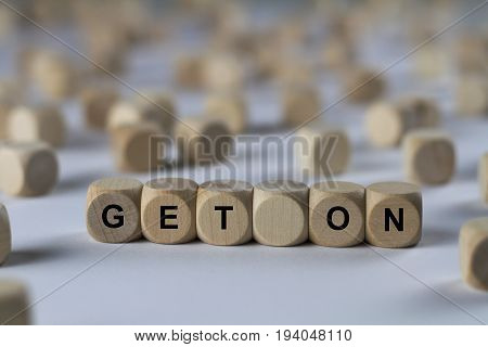 Get On - Cube With Letters, Sign With Wooden Cubes