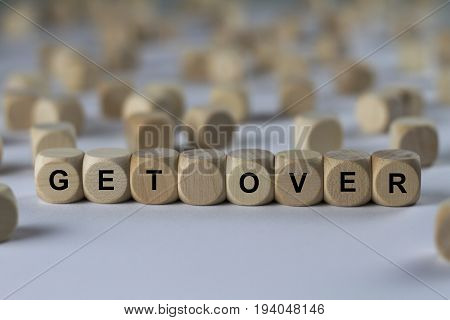 Get Over - Cube With Letters, Sign With Wooden Cubes
