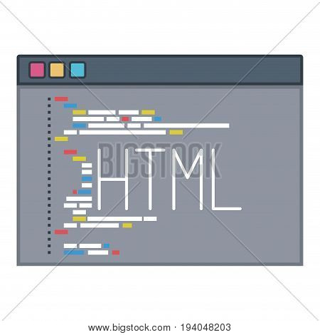 color silhouette of programming window with script code html vector illustration