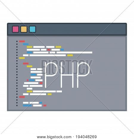 color silhouette of programming window with script code php vector illustration
