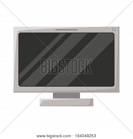 realistic grayscale silhouette of lcd monitor vector illustration