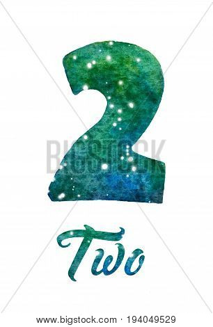 Hand painted watercolor of galaxy or night sky with stars number