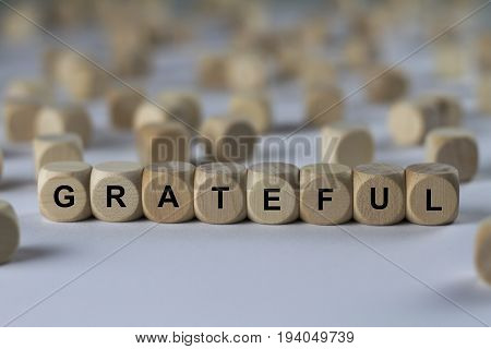 Grateful - Cube With Letters, Sign With Wooden Cubes
