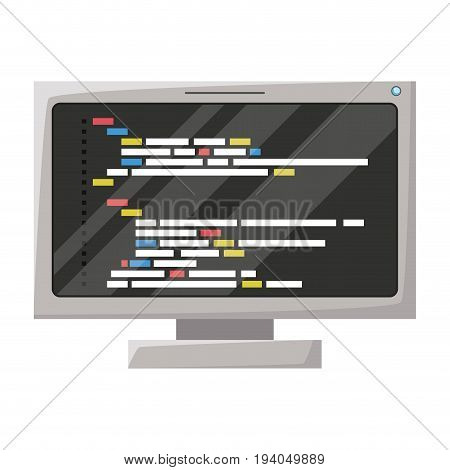 realistic silhouette of lcd monitor with screen programming window with script code vector illustration