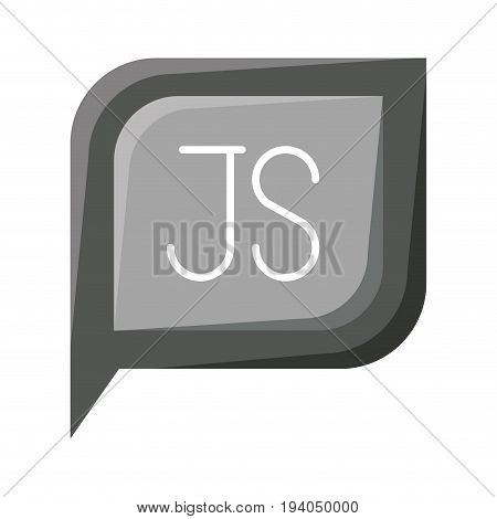 grayscale silhouette dialogue square with tail with js symbol vector illustration