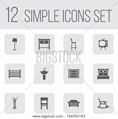 Set Of 12 Situation Icons Set.Collection Of Rocking Furniture, Sink, Illuminator And Other Elements.