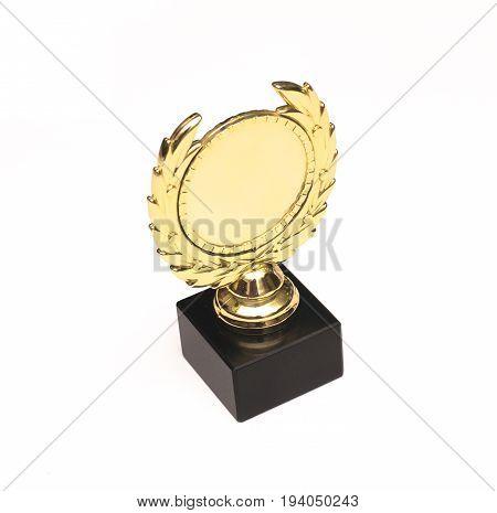 Award trophy cup isolated on white background.