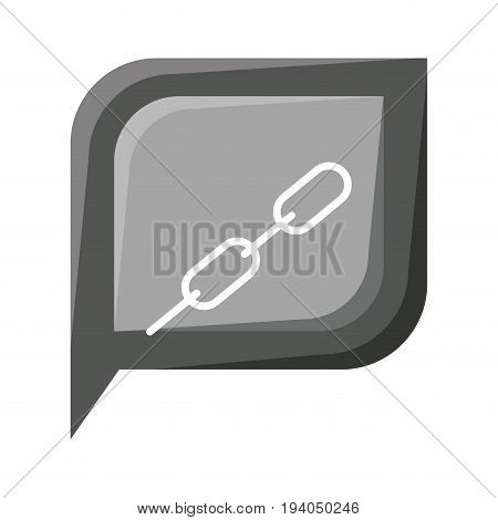 grayscale silhouette dialogue square with tail with chain link symbol vector illustration