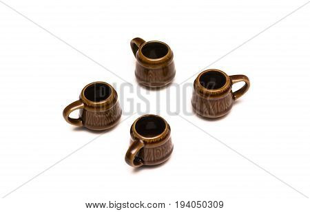 Beer ale mugs isolated on white background.