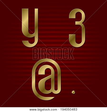 Lowercase gold font. Isolated y, 3 golden letters, commercial at and point.