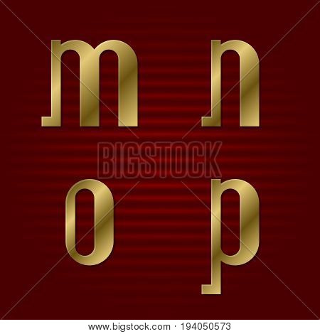 Lowercase gold font. Isolated m, n, o, p golden letters.