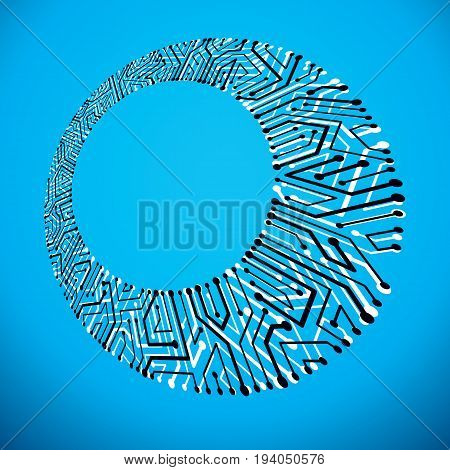Futuristic cybernetic scheme vector motherboard illustration. Digital element circuit board. Technology innovation abstract background with empty copy-space.