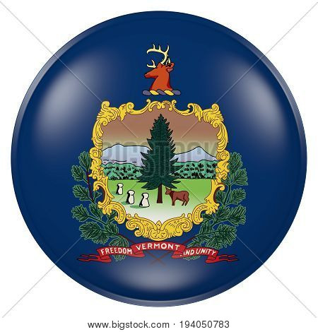 Vermont State Flag Button