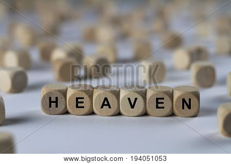 Heaven - Cube With Letters, Sign With Wooden Cubes