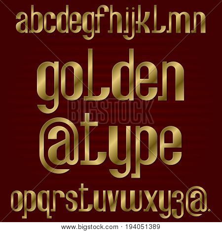 Lower case golden typeface. Gold lowercase letters font. Isolated english alphabet.