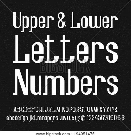 Awesome font of white lowercase and uppercase letters, numbers. Isolated english alphabet.
